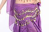Пояс восточный женский для танцев живота с монетками с монетками сиреневого цвета, фото 7