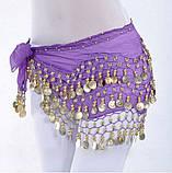 Пояс восточный женский для танцев живота с монетками с монетками сиреневого цвета, фото 8