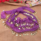 Пояс восточный женский для танцев живота с монетками с монетками сиреневого цвета, фото 10