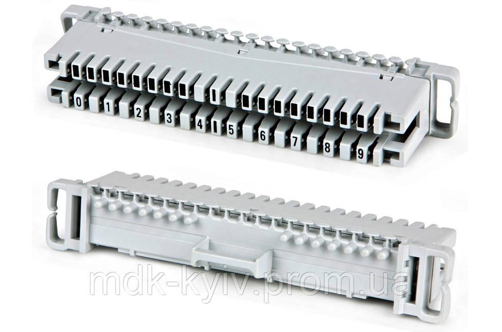 Плинт 2х10 с неразмыкаемыми контактами, крепление на монтажный хомут, марк. 0...9 (аналог 6089 1 002-06 KRONE)