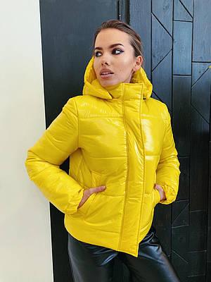 Модна жіноча коротка жовта куртка з капюшоном весна-осінь