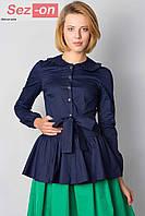 Блузка женская с поясом - Темно синий