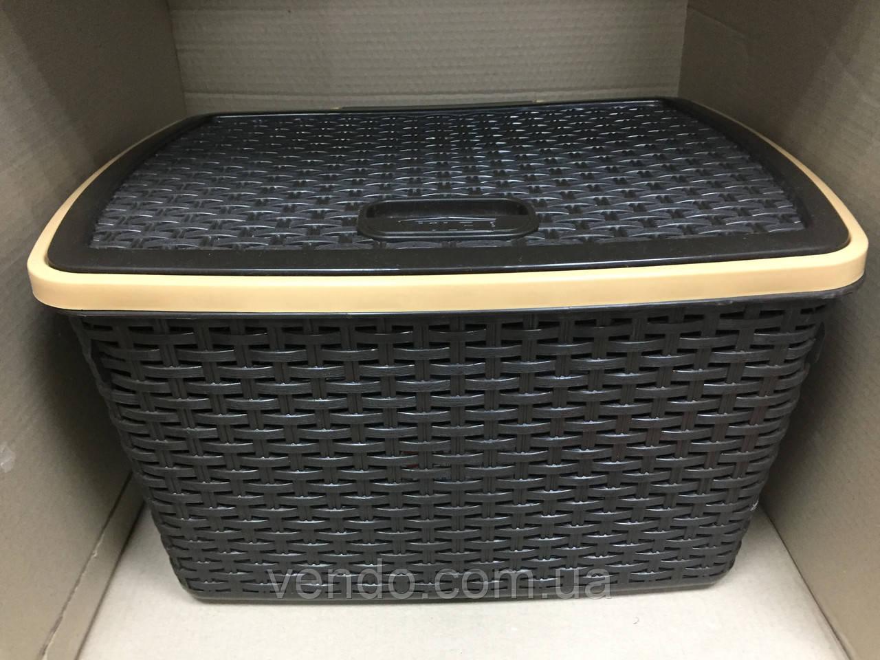 Контейнер с крышкой для хранения вещей ротанг Violet 30 л / коричневый