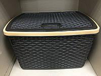 Контейнер с крышкой для хранения вещей ротанг Violet 30 л / коричневый, фото 1