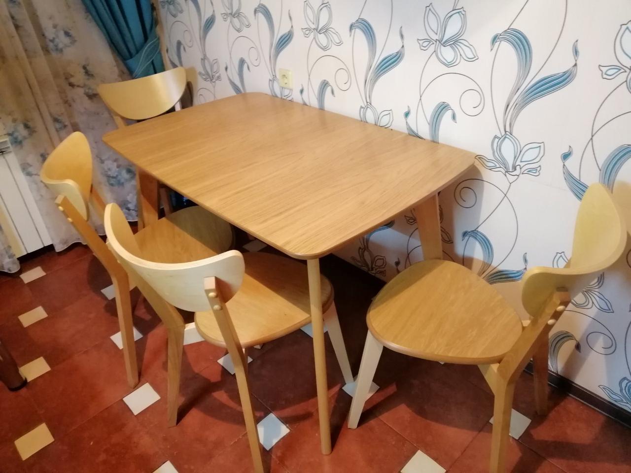 Кухонний буковий комплектект стіл + 4 стільця модерн Т