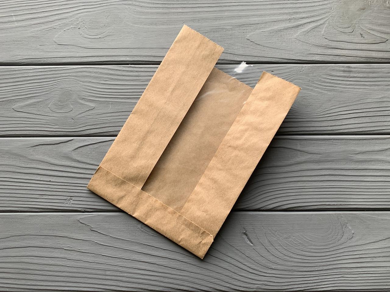Бумажный пакет с прозрачной вставкой 210х140х50  18Ф 1000 шт