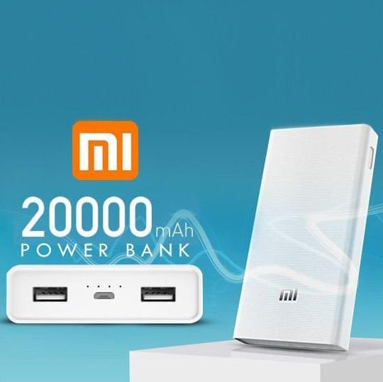 Внешний портативный аккумулятор Xiaomi 20000 mAh, 2 USB, белый