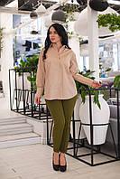 Женские деловые брюки с отворотом Батал, фото 1
