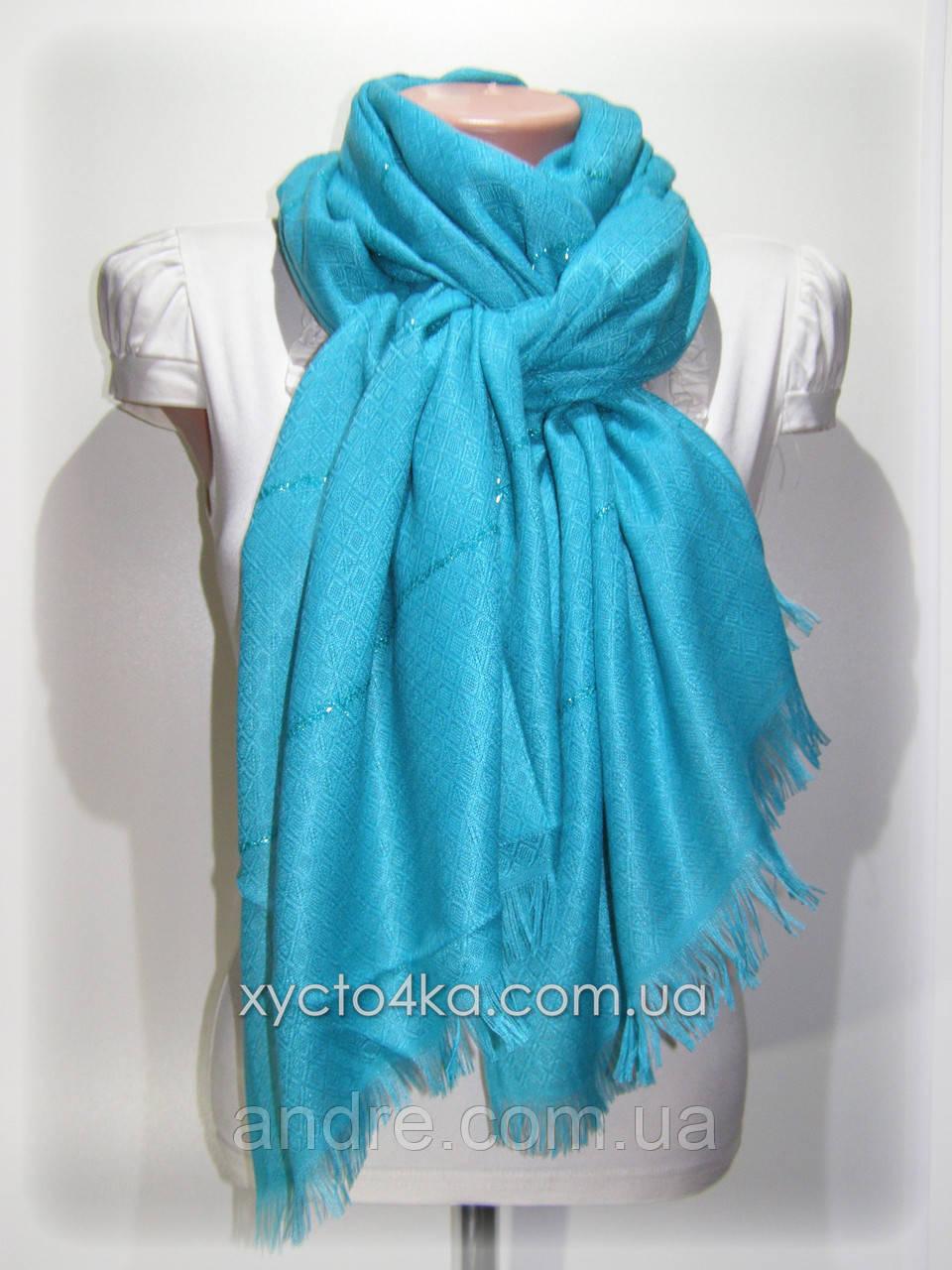 Однотонный шарф с люрексом Моника, бирюзовый