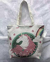 Молодежная сумка шоппер тканевая с единорогом