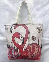 Льняная сумка шоппер летняя тканевая с Фламинго