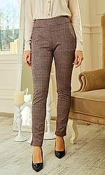 Женские трикотажные брюки, стрейч, пояс резинка, клетка принт р. 42,44,46,48,50 ,беж, жіночі штани