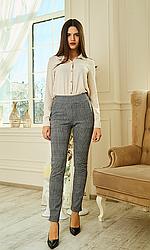 Женские трикотажные брюки, стрейч, пояс резинка, клетка р. 42,44,46,48,50,52,54,56 , серый,  штани