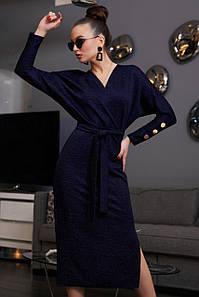 Женское платье-миди с люрексом на запах (3882-3881-3880 svt)
