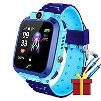 """Смарт-часы детские Smart Baby Watch Q12 Blue диагональ 1.44"""" сенсор с камерой GPS ответ на звонки 400 мАч"""