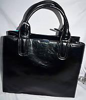 Женские масляные сумки из искусственной кожи с ремешком на плечо на 3 отделения 34*28 см (черная)
