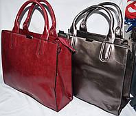 Женские масляные сумки из искусственной кожи с ремешком на плечо на 3 отделения 34*28 см (бордо и графит)