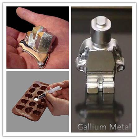 Металл Галлий 20 грамм с чистотой 99.99%. Металл который плавится в руке. Ga, фото 2