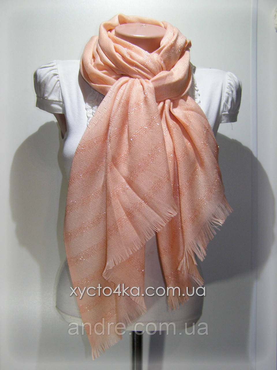 Однотонный шарф с люрексом Моника, персиковый