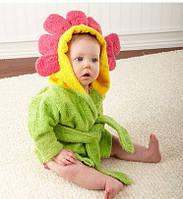 Банный короткий халат детский с капюшоном-зверюшка полотенце цветок