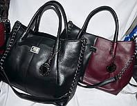 Женская комбинированная сумка с ремешком на цепочке 35*27 см