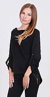 Блуза женская с молнией черная, фото 1