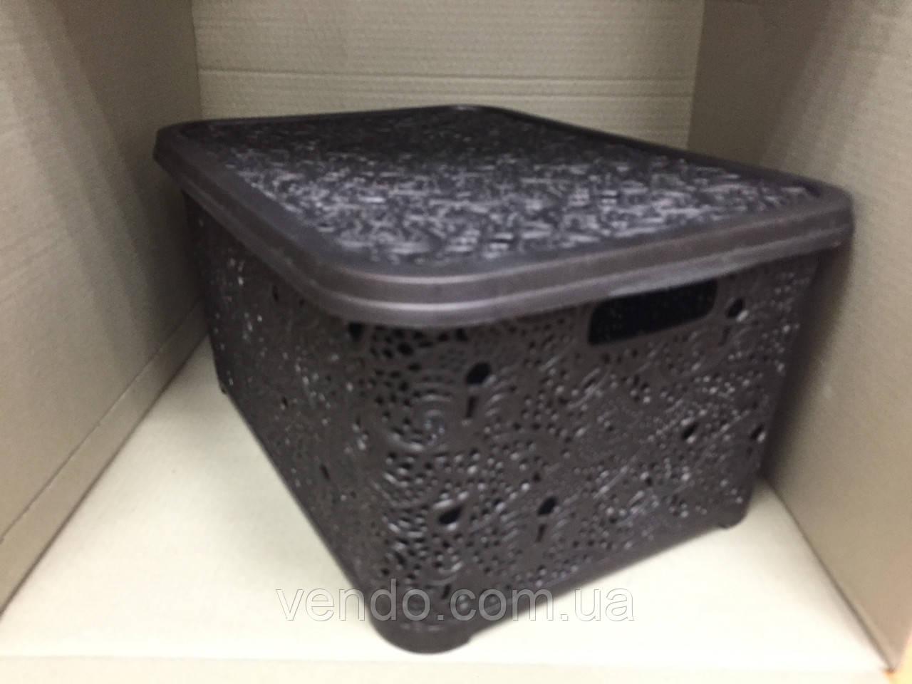 Контейнер с крышкой для хранения вещей АЖУР ELIF коричневый 30 л