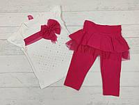 Детский костюм летний для девочку 2,3,4,5 лет. малиновый