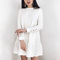 Женское стильное платье с воланом