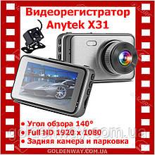Автомобильный видеорегистратор Anytek X31 Full HD 1080p обзор 140° на 2 камеры и парковка