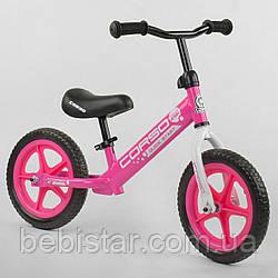 """Беговел розовый CORSO стальная рама 12"""" колеса EVA для деток 2-4 года"""