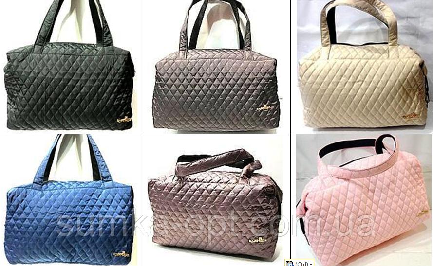 Женские стеганные вместительные сумки оптом (6 цветов)30*42см