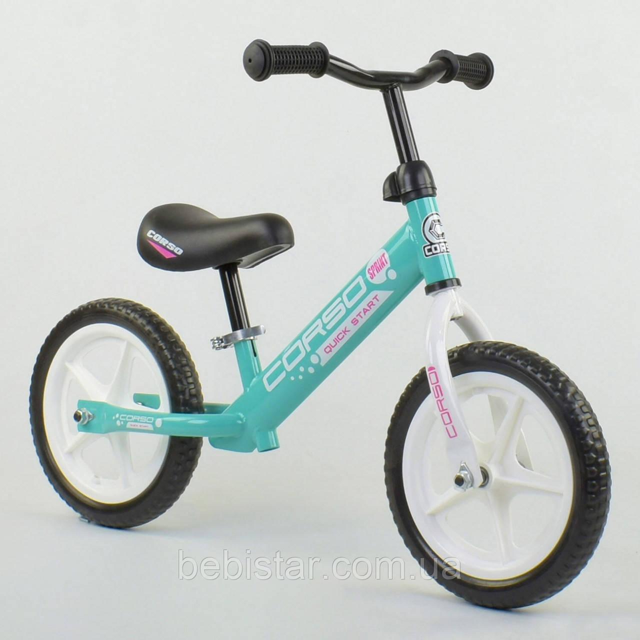 """Беговел бірюзовий CORSO сталева рама 12"""" колеса EVA для дітей 2-4 роки"""