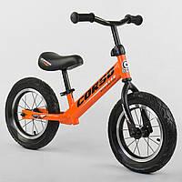 """Беговел оранжевый CORSO стальная рама 12"""" надувные колеса для деток 2-4 года"""