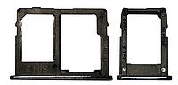 Лоток для сим карты и карты памяти для Samsung J415 Galaxy J4 Plus/J610 Galaxy J6 Plus, черный, на две Sim-карты, комплект 2 шт.