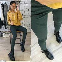 Модные женские леггинсы-брюки плотный замш арт 620