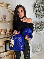 Женский рюкзак 3в1 на змейке экокожа синий