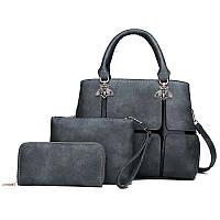 Женская сумка на змейке 3в1 экокожа серый