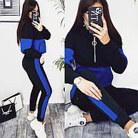 Женский теплый спортивный костюм с капюшоном серый-чёрный хаки-чёрный электрик-чёрный 42-44 44-46 48-50