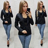 Жакет  /пиджак  женский на подкладе, модель S1098, цвет чёрный / чёрного цвета