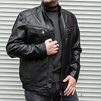 Мужская куртка из кож зама чёрная БАТАЛ