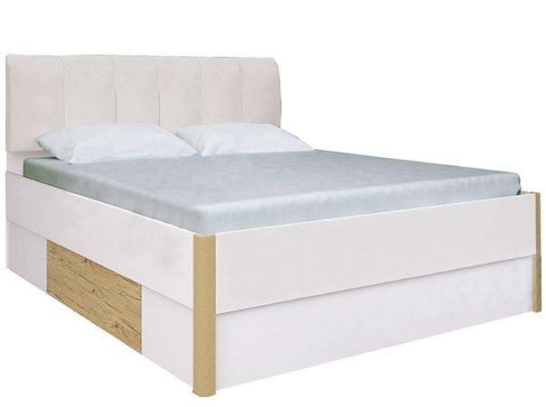 Ліжко Флоренція з м'якою спинкою Білий Глянець-Дуб Сан Марино ТМ МироМарк