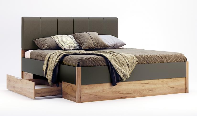Кровать Рамона 180х200 мягкая спинка с ящиками Дуб Крафт-Мат Лава ТМ МироМарк