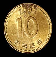 Монета Южной Кореи 10 вон 2004 г., фото 1