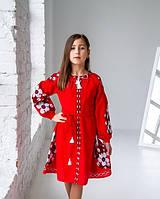 Вишите плаття для дівчинки червоне д/р Квіти Праги
