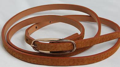 Женский узкий поясок ремень  2239 коричневый ДхШ: 102х0,9 см.