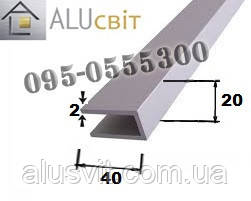 Швеллер алюминиевый п-образный профиль 20х40х2 без покрытия, фото 2