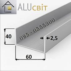 Швеллер алюминиевый п-образный профиль 60х40х2.5  анодированный серебро