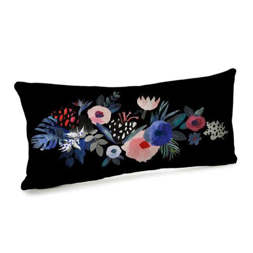 Подушка для дивана бархатная Цветы 50x24 (52BP_URB005)