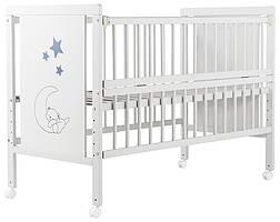 Кровать Babyroom Медвежонок M-01 откидной бок, колеса бук белый